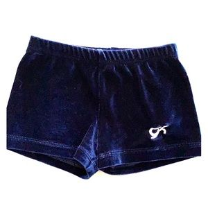 GK Gymnastics Shorts! Blue velour. Child's Large